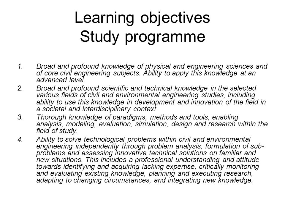 Learning objectives Study programme