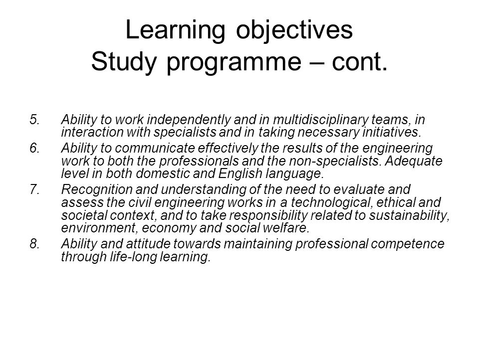 Learning objectives Study programme – cont.