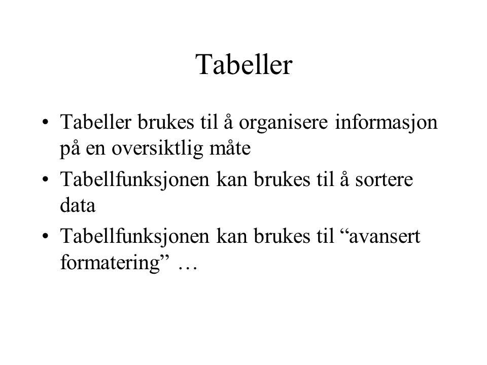 Tabeller Tabeller brukes til å organisere informasjon på en oversiktlig måte. Tabellfunksjonen kan brukes til å sortere data.