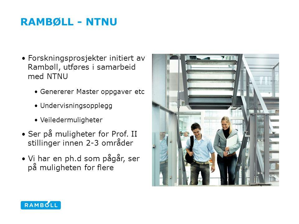 Rambøll - ntnu Forskningsprosjekter initiert av Rambøll, utføres i samarbeid med NTNU. Genererer Master oppgaver etc.