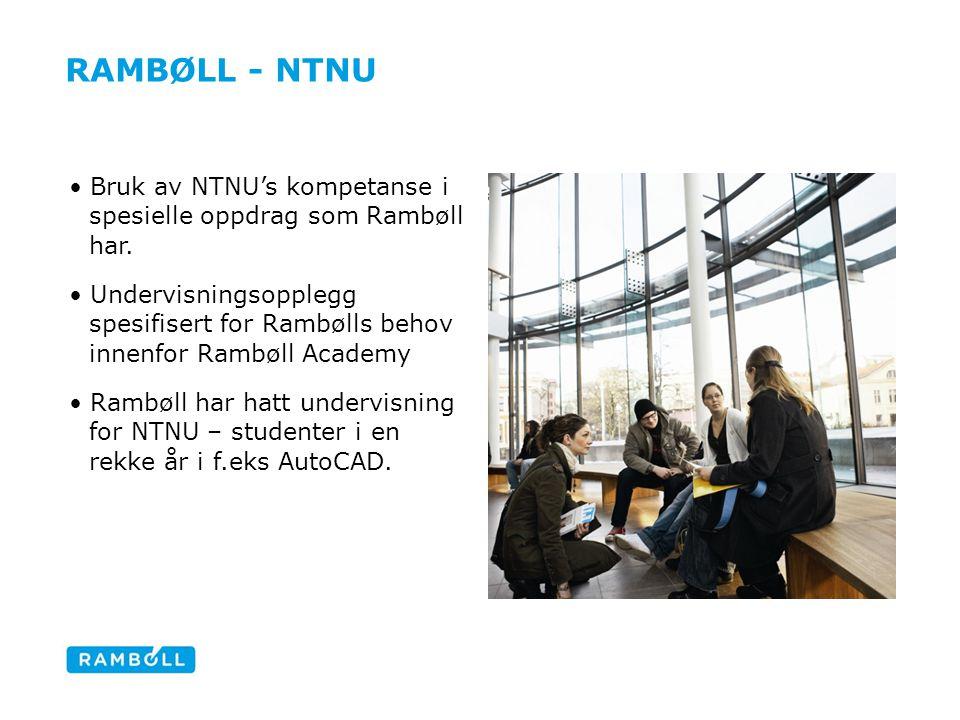 Rambøll - ntnu Bruk av NTNU's kompetanse i spesielle oppdrag som Rambøll har.