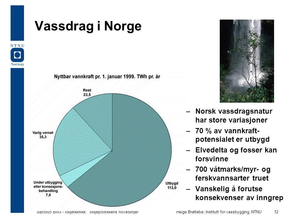 Vassdrag i Norge Norsk vassdragsnatur har store variasjoner