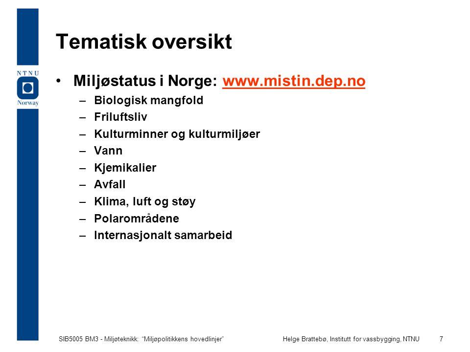 Tematisk oversikt Miljøstatus i Norge: www.mistin.dep.no