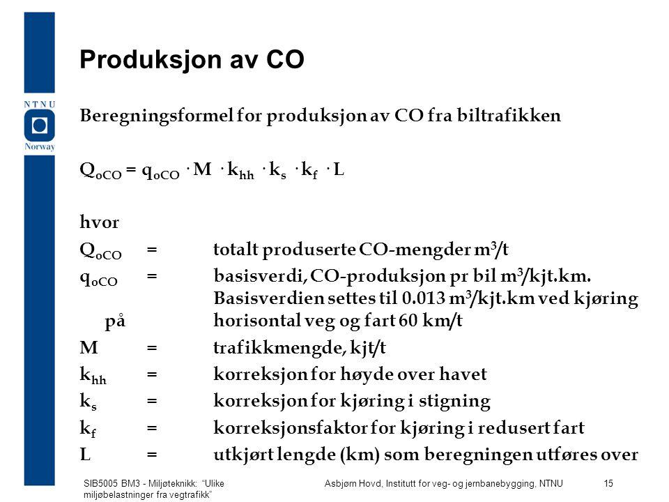 Produksjon av CO Beregningsformel for produksjon av CO fra biltrafikken. QoCO = qoCO · M · khh · ks · kf · L.