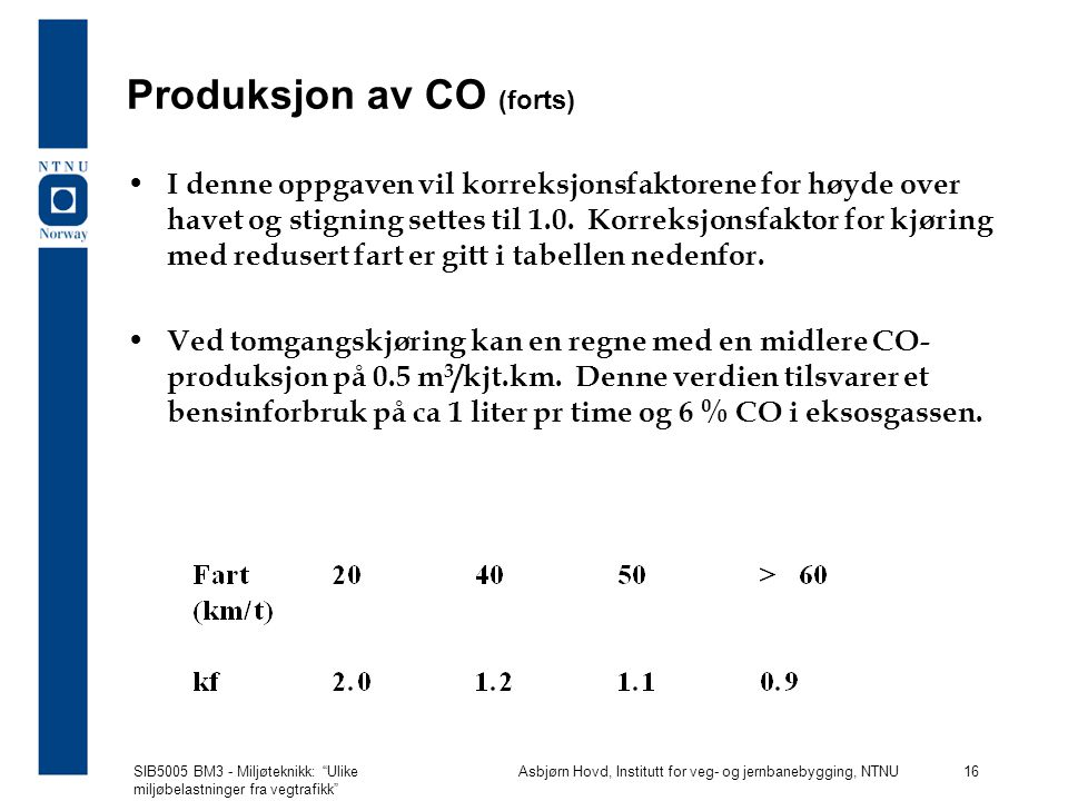 Produksjon av CO (forts)