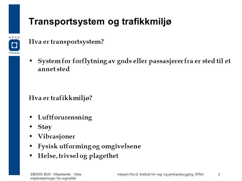 Transportsystem og trafikkmiljø
