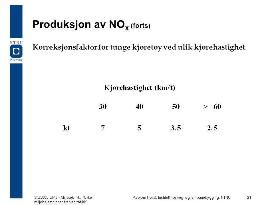 Produksjon av NOx (forts)