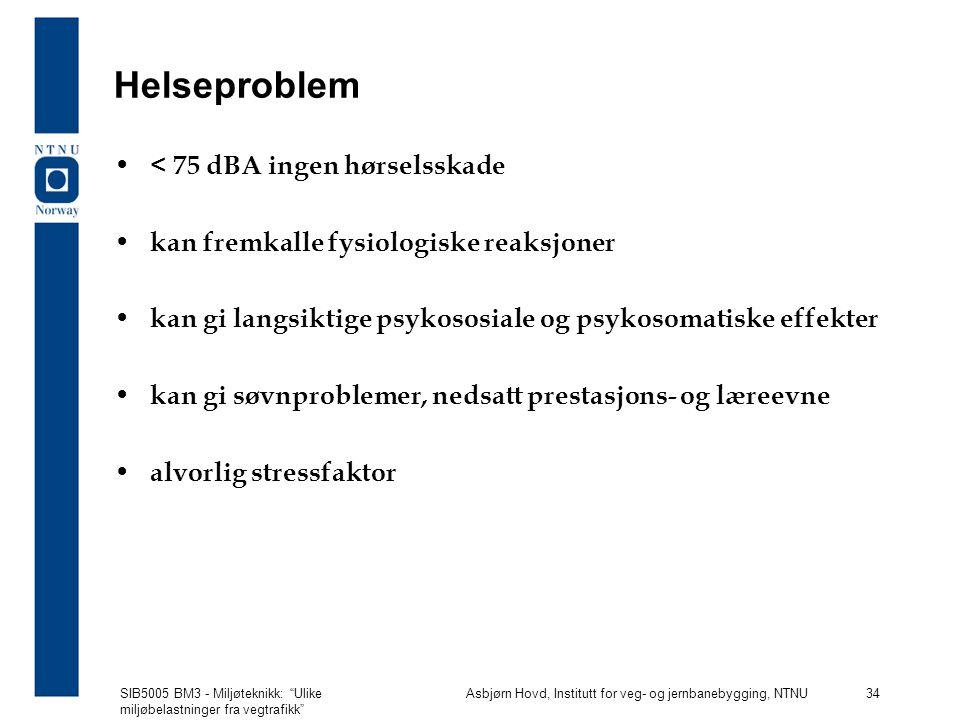 Helseproblem < 75 dBA ingen hørselsskade