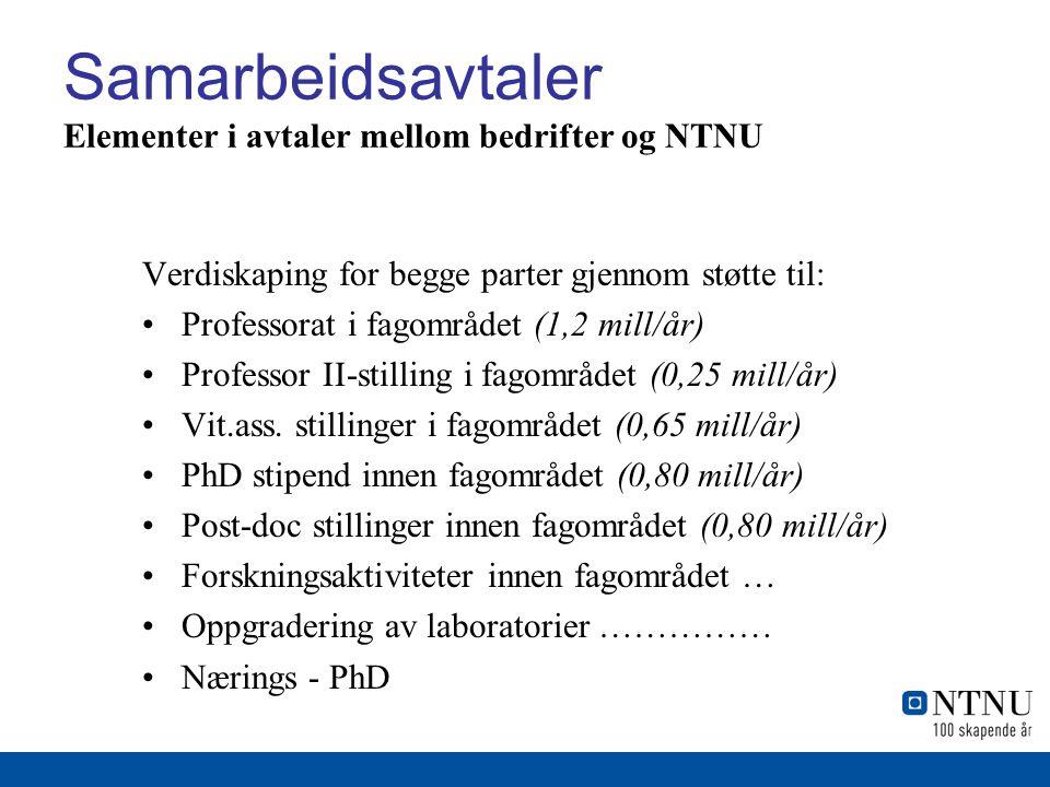 Samarbeidsavtaler Elementer i avtaler mellom bedrifter og NTNU