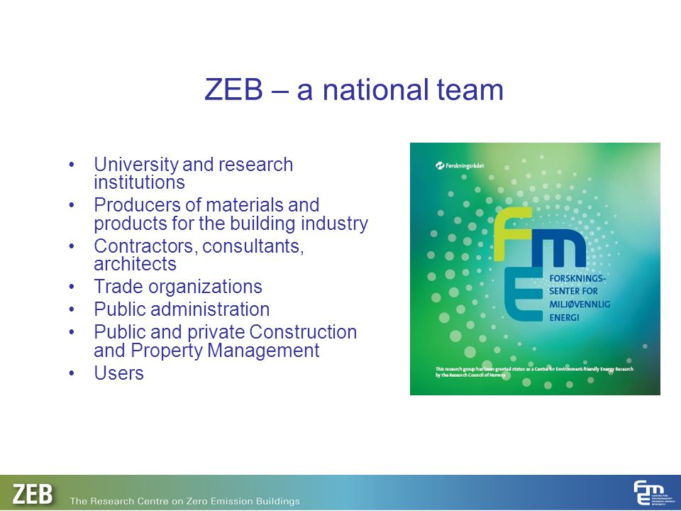 ZEB – a national team University and research institutions
