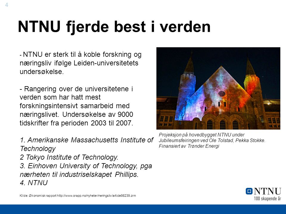 NTNU fjerde best i verden