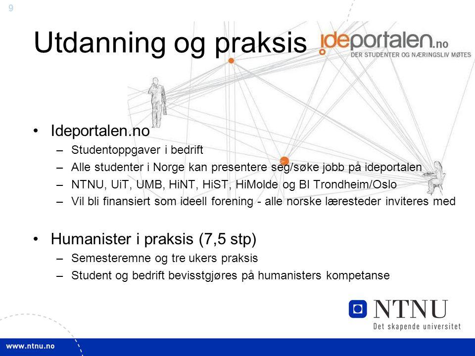 Utdanning og praksis Ideportalen.no Humanister i praksis (7,5 stp)