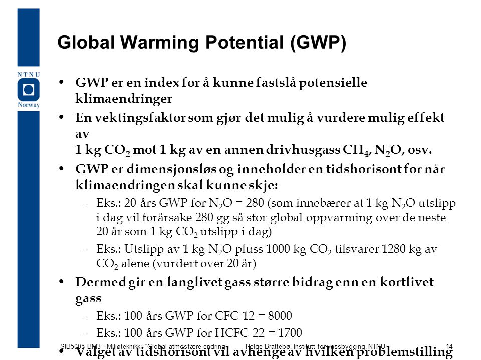 Global Warming Potential (GWP)