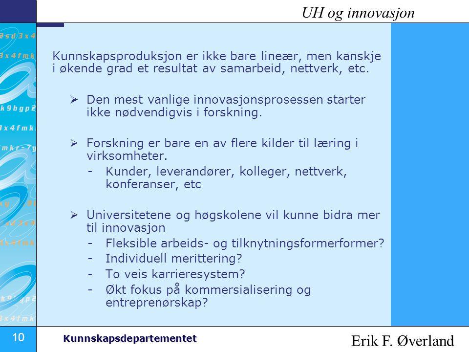 UH og innovasjon Erik F. Øverland