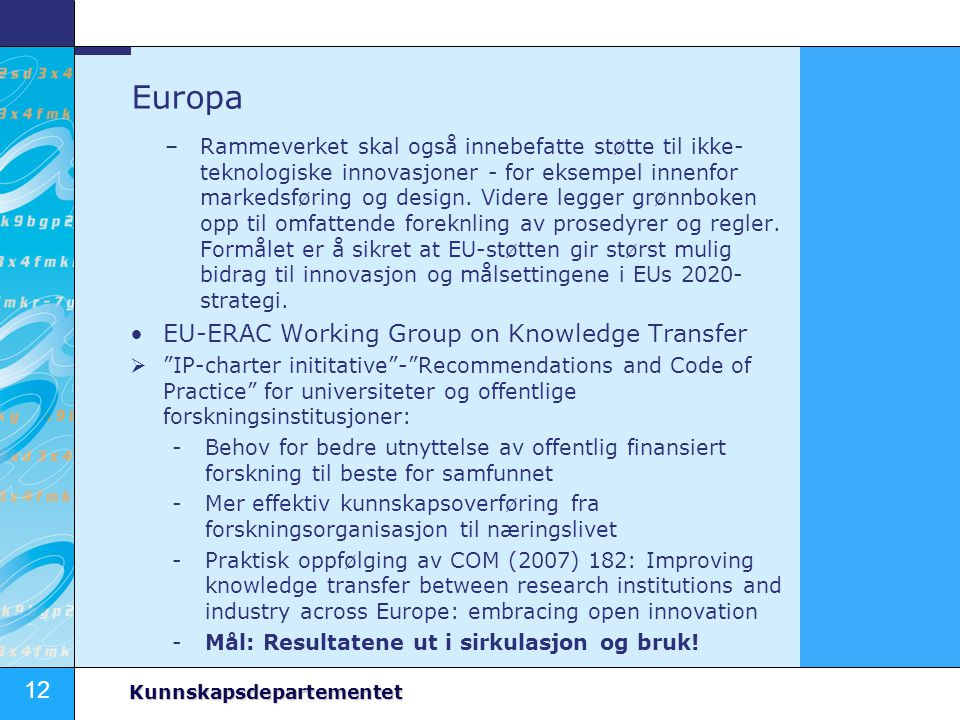 Europa EU-ERAC Working Group on Knowledge Transfer