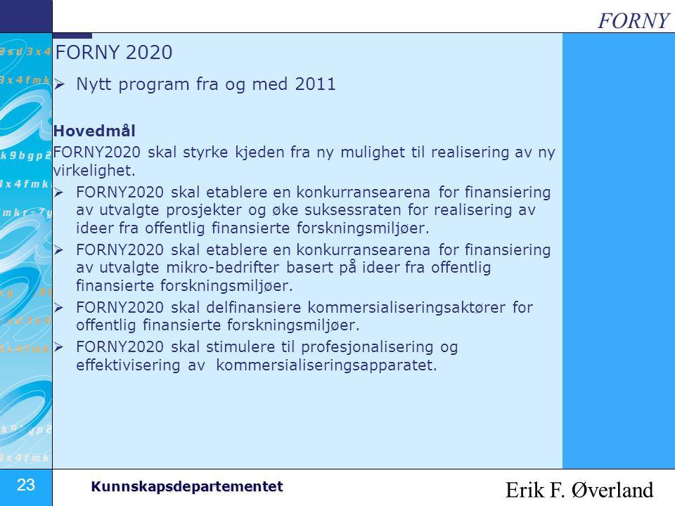 FORNY Erik F. Øverland FORNY 2020 Nytt program fra og med 2011