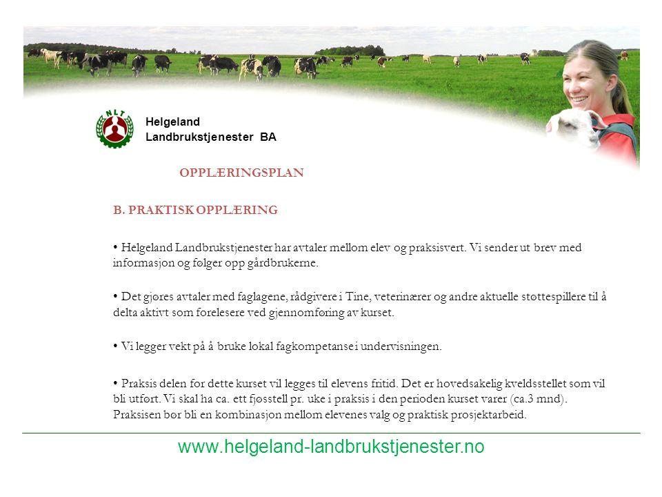 www.helgeland-landbrukstjenester.no OPPLÆRINGSPLAN