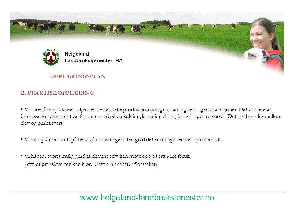 www.helgeland-landbrukstenester.no OPPLÆRINGSPLAN