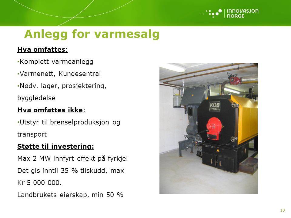 Anlegg for varmesalg Hva omfattes: Komplett varmeanlegg