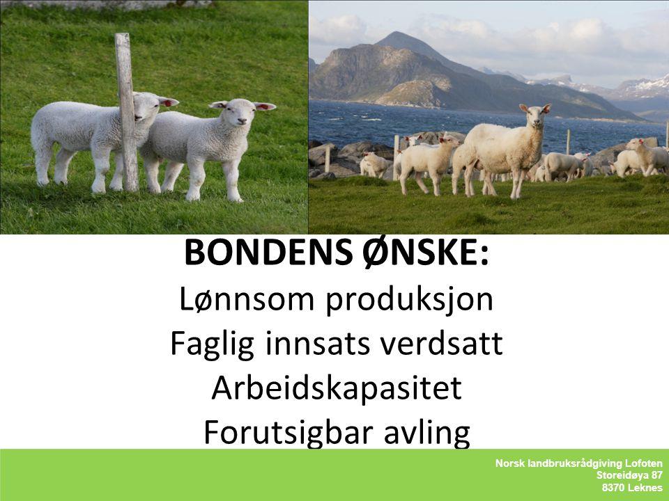BONDENS ØNSKE: Lønnsom produksjon Faglig innsats verdsatt Arbeidskapasitet Forutsigbar avling
