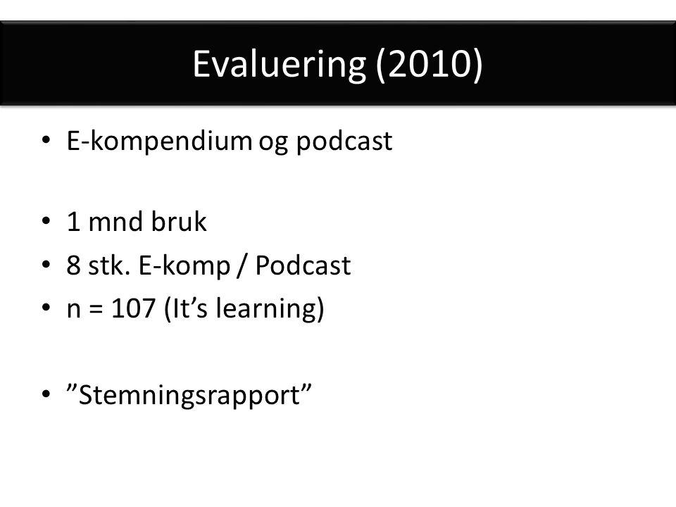 Evaluering (2010) E-kompendium og podcast 1 mnd bruk