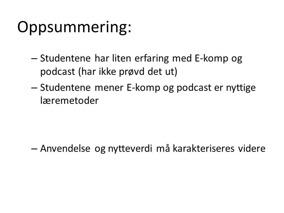 Oppsummering: Studentene har liten erfaring med E-komp og podcast (har ikke prøvd det ut) Studentene mener E-komp og podcast er nyttige læremetoder.