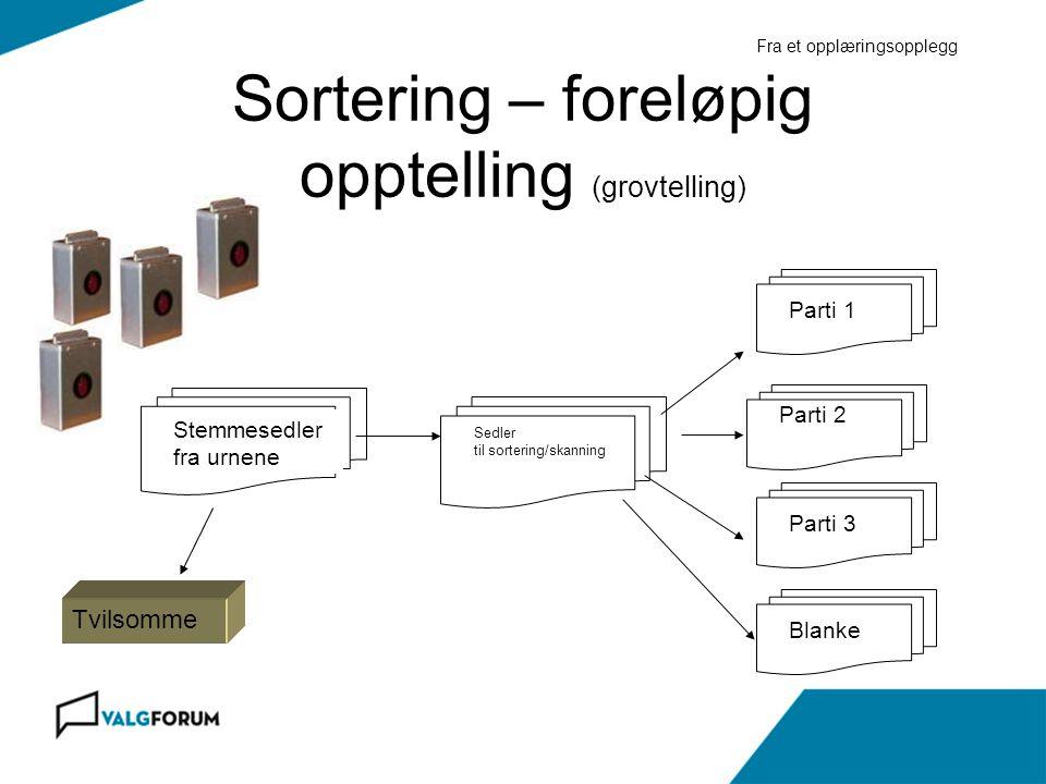 Sortering – foreløpig opptelling (grovtelling)
