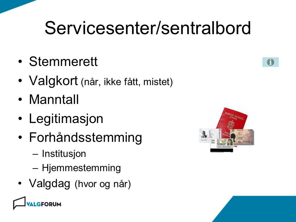 Servicesenter/sentralbord