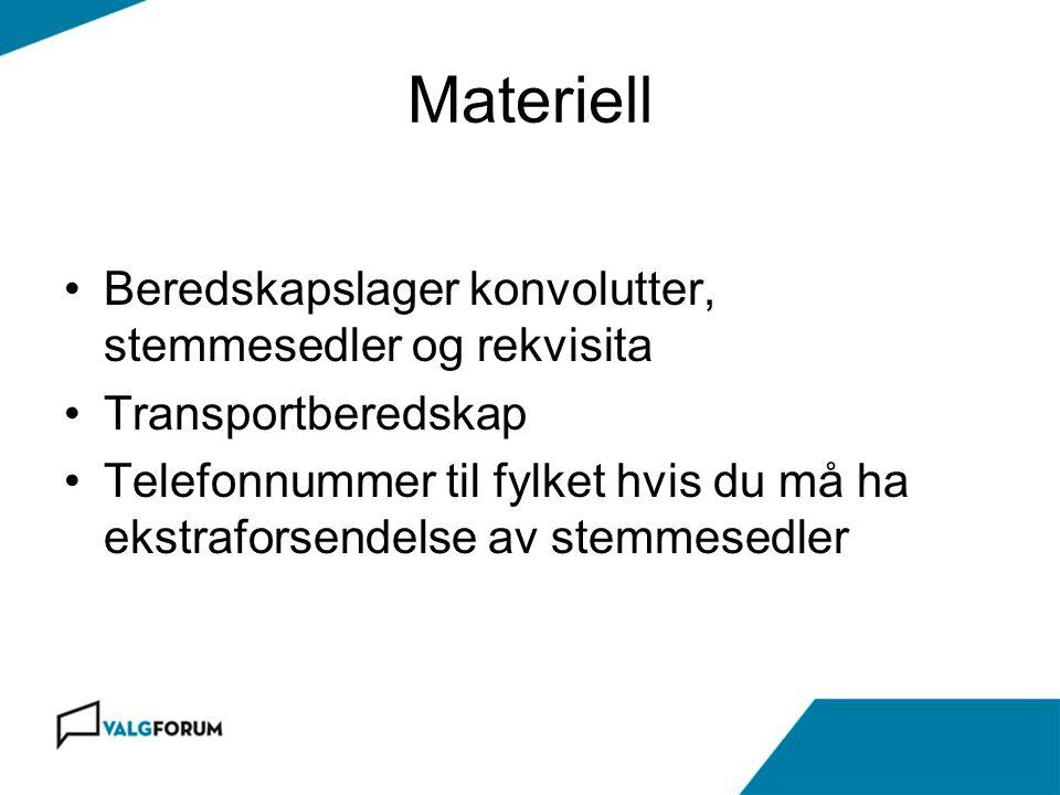 Materiell Beredskapslager konvolutter, stemmesedler og rekvisita