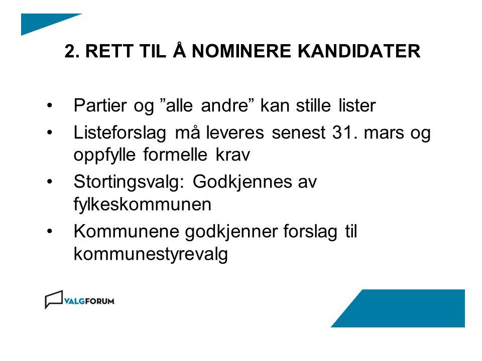 2. RETT TIL Å NOMINERE KANDIDATER