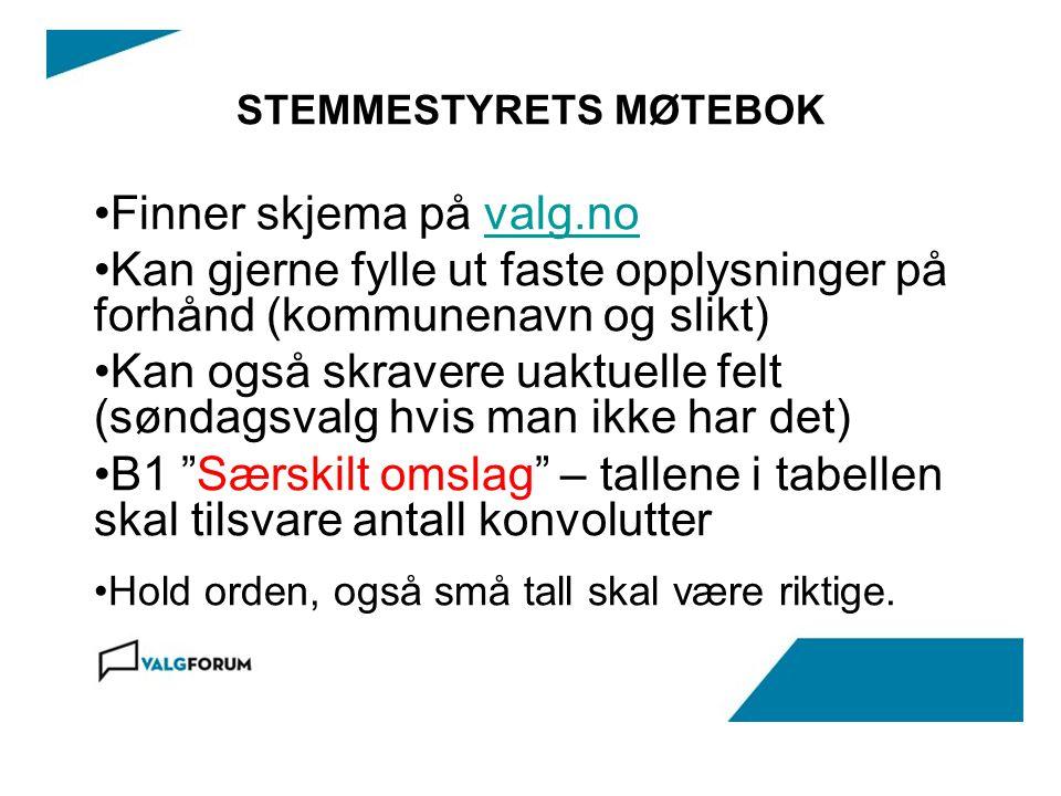 STEMMESTYRETS MØTEBOK