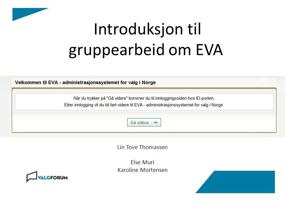 Introduksjon til gruppearbeid om EVA