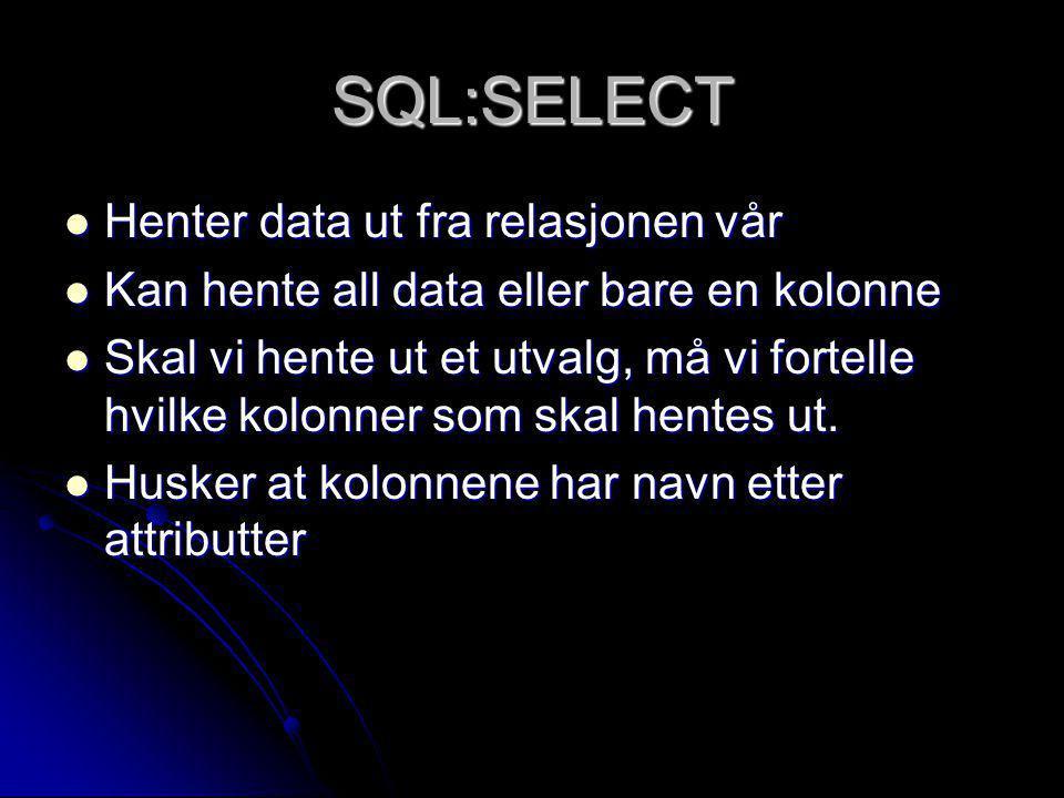 SQL:SELECT Henter data ut fra relasjonen vår