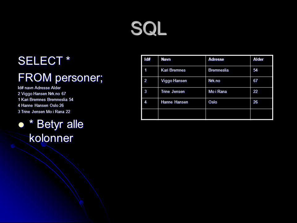 SQL SELECT * FROM personer; * Betyr alle kolonner