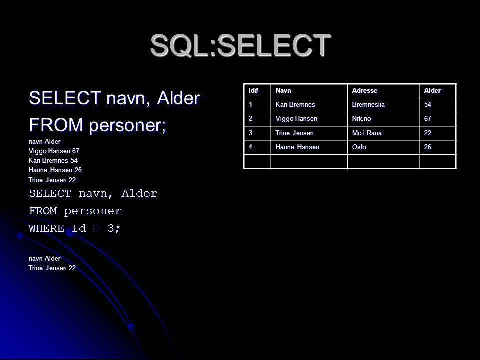 SQL:SELECT SELECT navn, Alder FROM personer; FROM personer