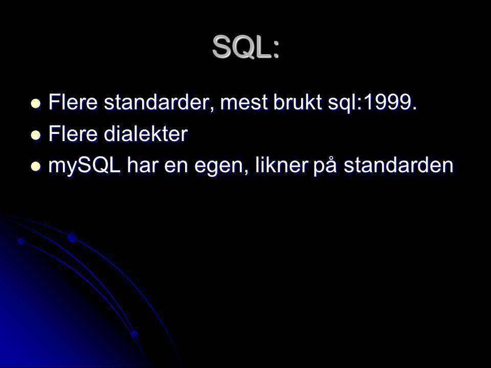 SQL: Flere standarder, mest brukt sql:1999. Flere dialekter