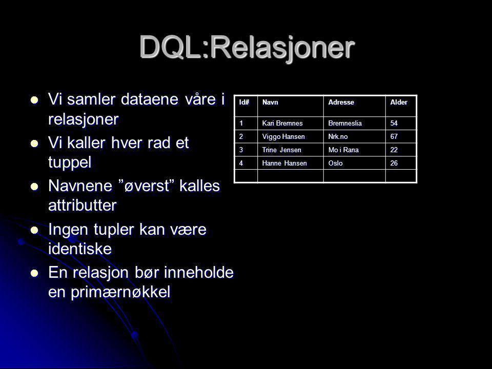 DQL:Relasjoner Vi samler dataene våre i relasjoner