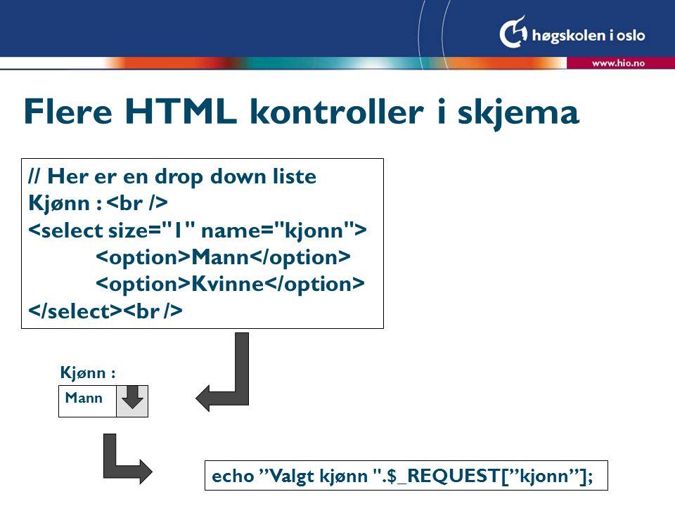 Flere HTML kontroller i skjema
