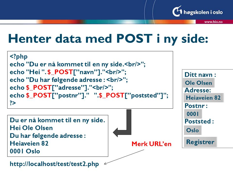 Henter data med POST i ny side: