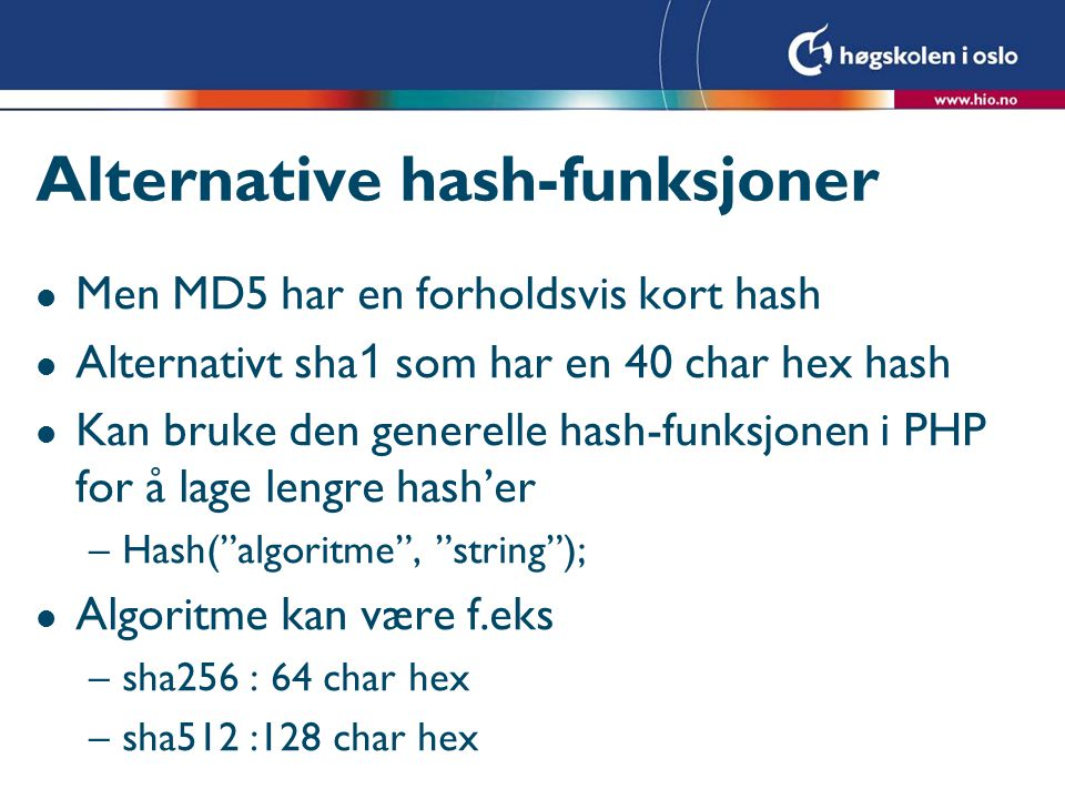 Alternative hash-funksjoner