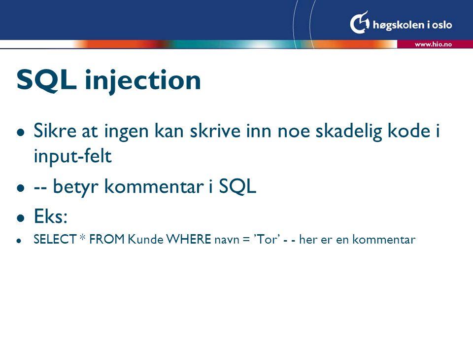 SQL injection Sikre at ingen kan skrive inn noe skadelig kode i input-felt. -- betyr kommentar i SQL.