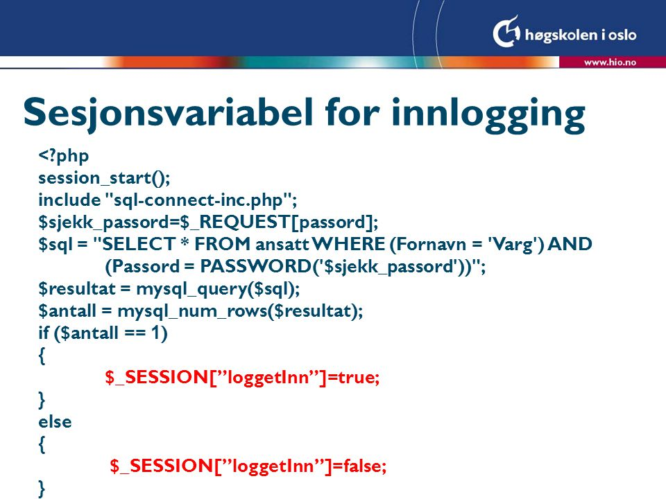 Sesjonsvariabel for innlogging