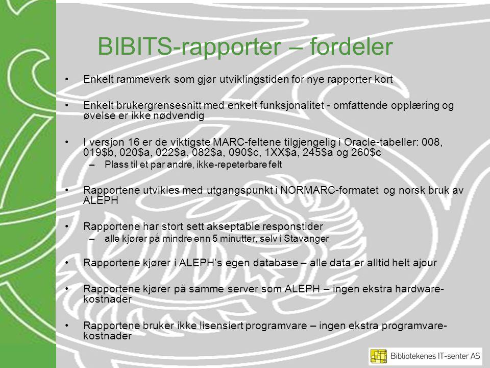 BIBITS-rapporter – fordeler