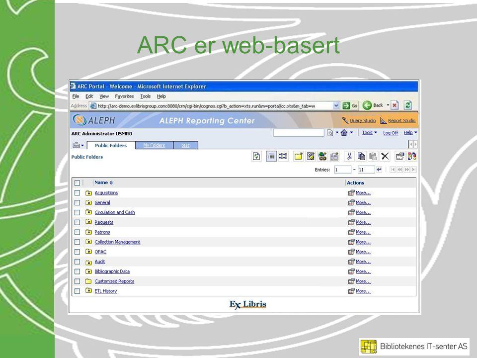 ARC er web-basert ARC er et web-basert verktøy og rapportene er ordnet i mapper for hvert emne.
