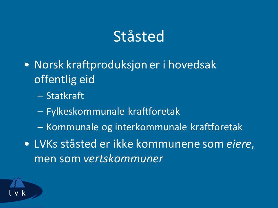 Ståsted Norsk kraftproduksjon er i hovedsak offentlig eid
