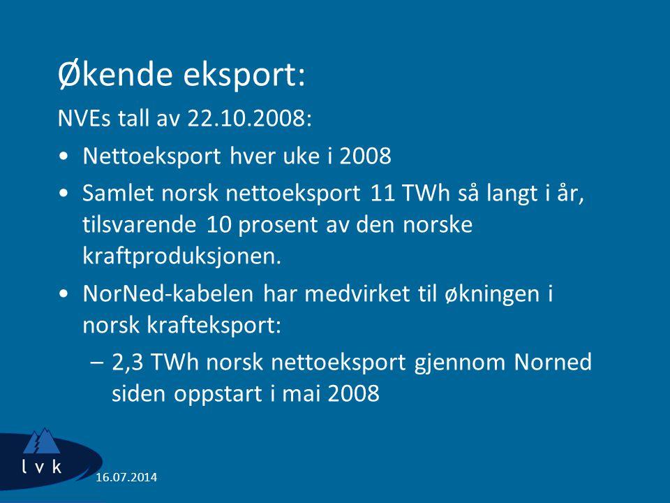 Økende eksport: NVEs tall av 22.10.2008: Nettoeksport hver uke i 2008