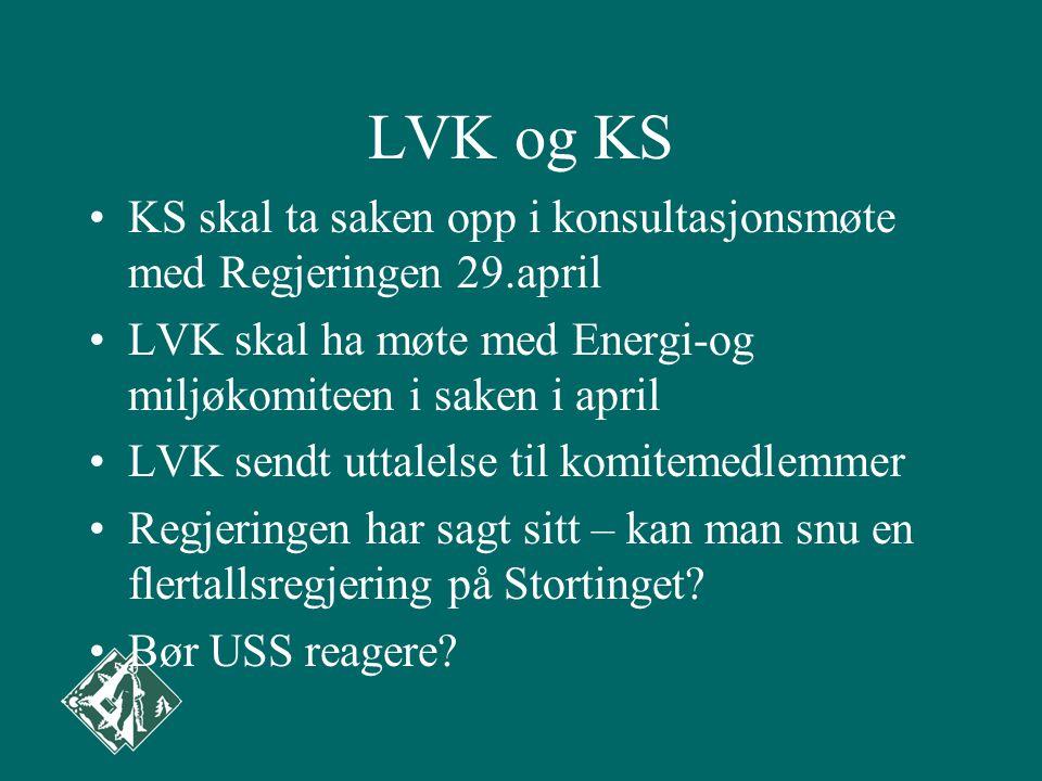 LVK og KS KS skal ta saken opp i konsultasjonsmøte med Regjeringen 29.april. LVK skal ha møte med Energi-og miljøkomiteen i saken i april.