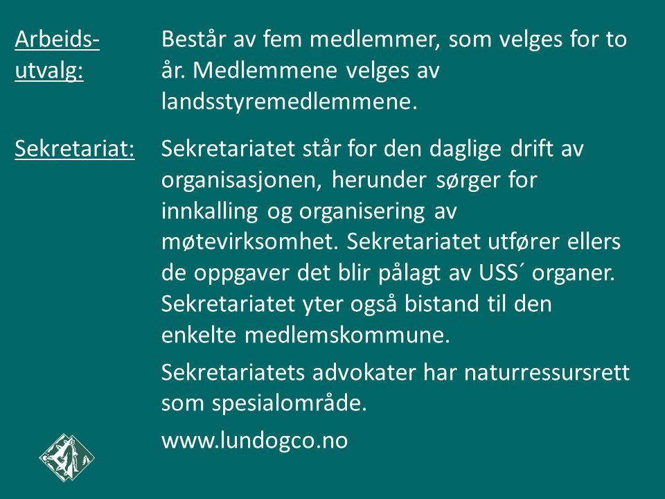 Arbeids- utvalg: Består av fem medlemmer, som velges for to år. Medlemmene velges av landsstyremedlemmene.