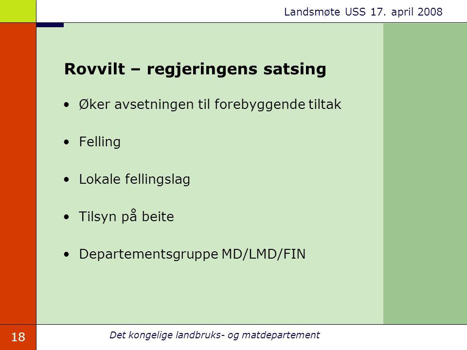 Rovvilt – regjeringens satsing