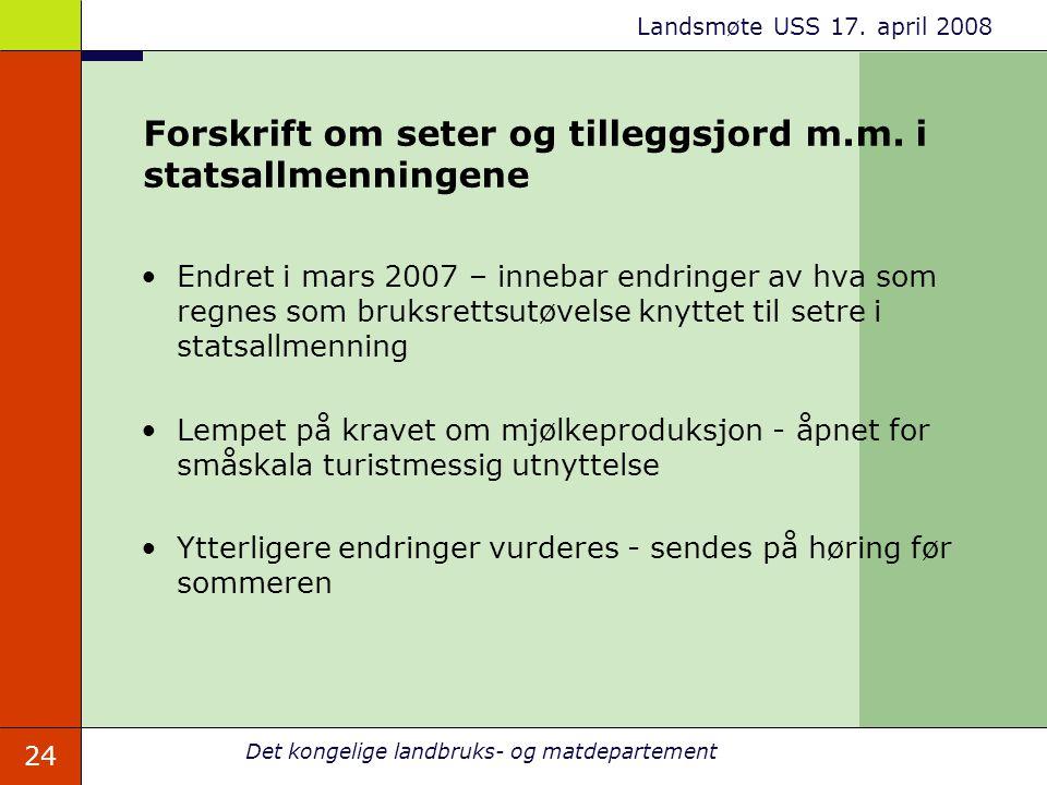 Forskrift om seter og tilleggsjord m.m. i statsallmenningene